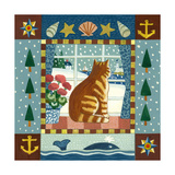 Folk Art Cat Winter Giclee Print by Geraldine Aikman