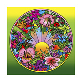 Pop Art Circle Flowers 615 Giclee Print by Howie Green