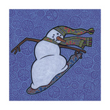 Snowman Snowboarder 2 Giclee Print by Denny Driver