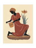 Kneeling Left Weaving Basket - Orange Dress Giclee Print by Judy Mastrangelo