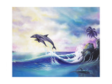 Dolphins Giclee Print by Geno Peoples