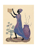 Weaving Basket - Purple Dress Giclee Print by Judy Mastrangelo