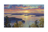 Sunset over the San Juan Islands Giclee Print by Randy Van Beek