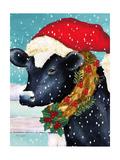 A Christmas Cow Giclée-tryk af Laurie Korsgaden