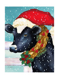 A Christmas Cow Giclee Print by Laurie Korsgaden