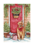Golden at Christmas Door Giclee Print by Melinda Hipsher