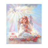 Girl Angel on Cloud Giclee Print by Judy Mastrangelo
