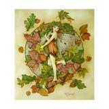 Autumn Leaf Fairy Giclee-trykk av Linda Ravenscroft