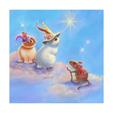 Two Lop Eared Bunnies Mouse and Two Bunnies in Clouds II Impressão giclée por Judy Mastrangelo