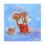 Mice, Squirrel and Bunny family in Clouds I Giclee Print by Judy Mastrangelo