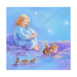 Girl and Animals in Clouds I Impressão giclée por Judy Mastrangelo