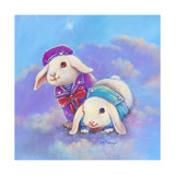 Two Lop Eared Bunnies Mouse and Two Bunnies in Clouds I Impressão giclée por Judy Mastrangelo