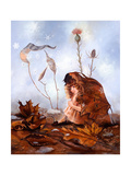 Thumbelina in Leaves Giclee Print by Judy Mastrangelo
