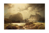 Dramatic Waterfall Landscape with Figures and Building Remain Giclee Print by Marcus Larson