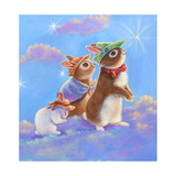 Mice, Squirrel and Bunny family in Clouds II Impressão giclée por Judy Mastrangelo