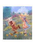 Alice and White Rabbit Giclee Print by Judy Mastrangelo