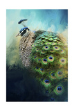 Peacock in Winter Giclee Print by Jai Johnson