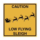 Low Flying Sleigh Giclee Print by Tina Lavoie