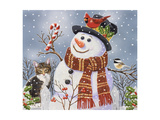 Snowman and Kitten Giclee Print by William Vanderdasson
