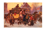 Christmas Carriage Giclee Print by  Vintage Apple Collection