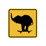 Elephant on Skateboard Crossing Sign Giclee Print by  J Hovenstine Studios
