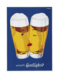 Beer Creates Sociability Giclee Print by Vintage Lavoie