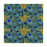 Gold Speckled Peacock Pattern Giclee Print by Tina Lavoie