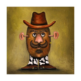Cowboy Potato Head Giclee Print by Leah Saulnier