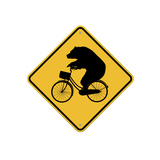 Bears on Bikes Crossing Sign Giclee Print by  J Hovenstine Studios