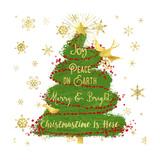 Joy Christmas Tree Giclee Print by Tina Lavoie