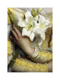 Lilies detail Gustav Pope 1895 Giclee Print by Vintage Lavoie