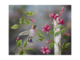 Hummingbird with Flowers Giclee Print by Sarah Davis
