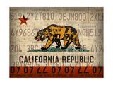 Cali State Flag License Plates Reproduction procédé giclée par  Design Turnpike