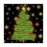 Let it Snow Christmas Tree Black Giclee Print by Tina Lavoie
