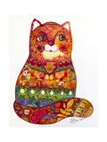 Judaica Folk Cat Giclee Print by Oxana Zaika