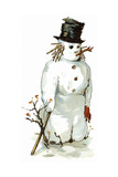 Snowman Giclee Print by  Vintage Apple Collection