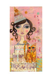 Big Eyed Girl You Can't Have Your Cake and Eat it Too Giclee Print by  Wyanne
