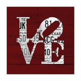 Love Word Art License Plates Reproduction procédé giclée par  Design Turnpike