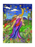 Big Diva Angel and Moon Giclee Print by  Wyanne