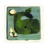 Green Whale Monoprint Giclee Print by  Wyanne