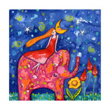 Cozy Up to the Moon Giclee Print by  Wyanne