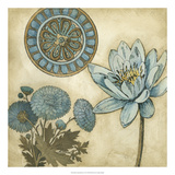 Blue and Taupe Blooms II Premium Giclee Print by Megan Meagher