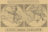 Mercator's World Map, 1524 Art by Gerardus Mercator