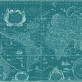 Blueprint World Map, Teal Posters by Willem Blaeu