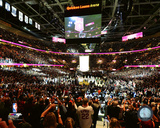 The Cleveland Cavaliers championship banner is raised at Quicken Loans Arena on October 25, 2016 Photo