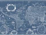 Blueprint World Map Art by Willem Blaeu