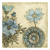 Blue and Taupe Blooms I Premium Giclee Print by Megan Meagher