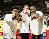 Iman Shumpert, Kevin Love, & LeBron James show rings during the NBA Championship ceremony 10/25/16 Photo