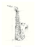 Saxophone Sketch Premium Giclee Print by Ethan Harper