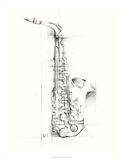 Saxophone Sketch Premium Giclee Print by Ethan Harper